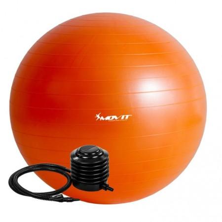 Velký nafukovací míč pro cvičení a fyzioterapie, vč. pumpy, oranžový, 85 cm