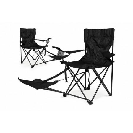 2 ks skládací rybářská židle s podložkou na nohy, černá