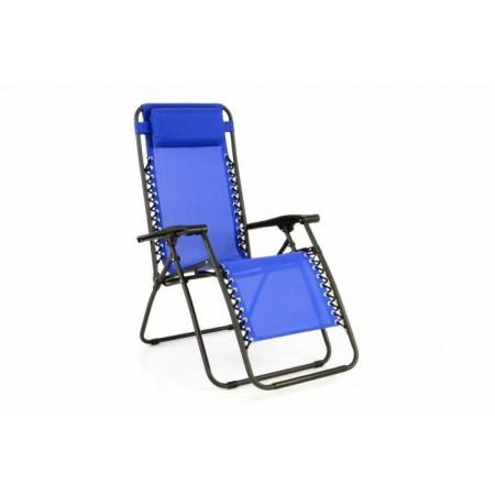 Zahradní kovová židle / lehátko 2v1, houpací provedení, modré
