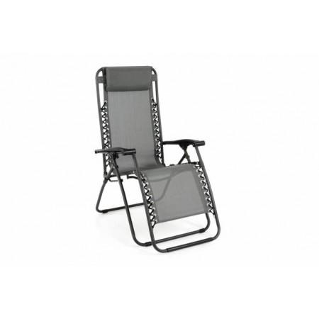 Zahradní kovová židle / lehátko 2v1, houpací provedení, šedé