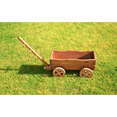 Okrasný dřevěný vozík- květináč, masivní dřevo, 100 cm