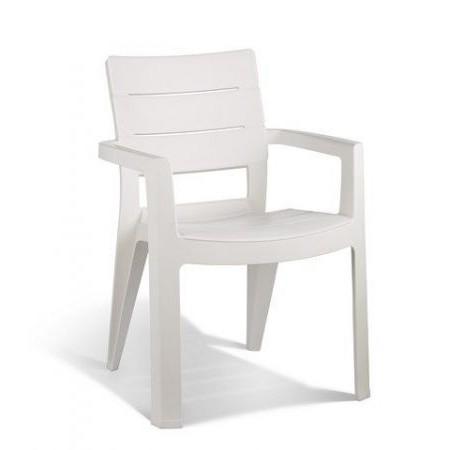 Robustní plastová venkovní židle s područkami, bílá
