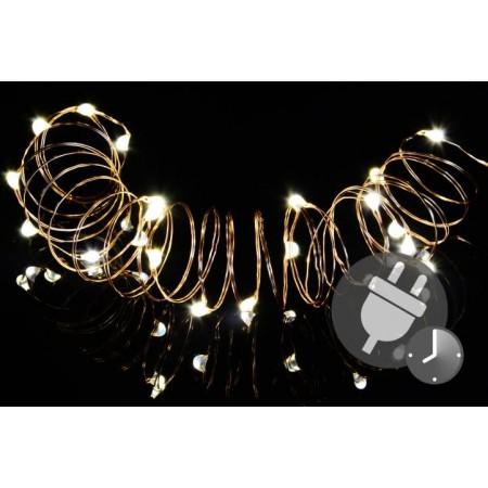 Vánoční řetěz- drát se svítícími mini LED diodami, vnitřní, časovač, 10 m