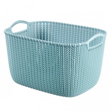 Větší plastový koš s držadly, dekorativní vzhled, světle modrý, 19 L