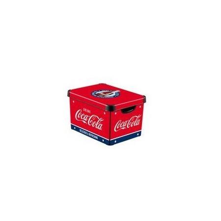 Dekorativní úložný plastový box s víkem, červený + Coca Cola, vel. S