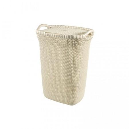 Vysoký dekorativní koš na prádlo, pletený design, krémový, 57 L
