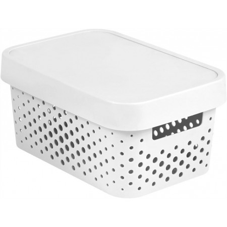 Dekorativní úložný plastový box s otvory, víko, bílý, 4,5 L