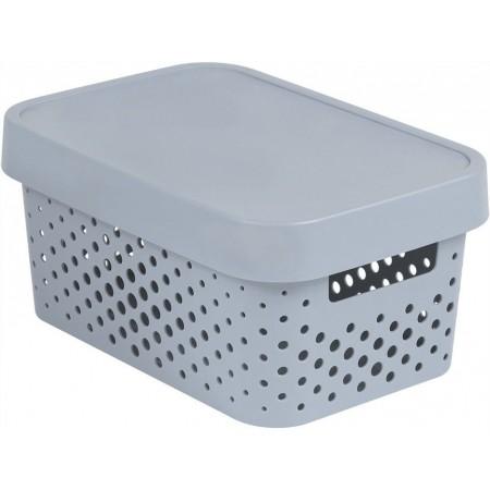 Dekorativní úložný plastový box s otvory, víko, šedý, 4,5 L