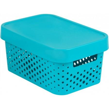 Dekorativní úložný plastový box s otvory, víko, modrý, 4,5 L