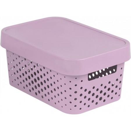 Dekorativní úložný plastový box s otvory, víko, růžový, 4,5 L