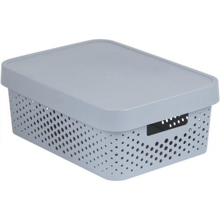 Větší úložný plastový box s otvory, víko, šedý, 11 L