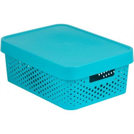 Větší úložný plastový box s otvory, víko, modrý, 11 L
