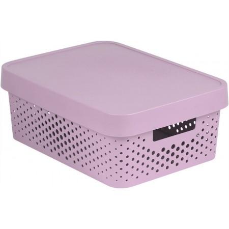 Větší úložný plastový box s otvory, víko, růžový, 11 L