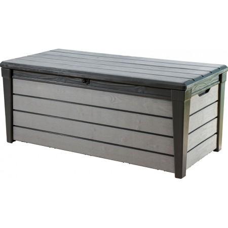 Velký zahradní box na zahradu, plast, možnot sezení, šedý, 145 cm, 455 L