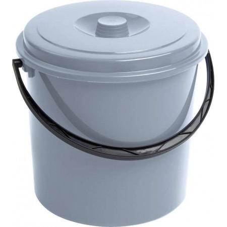 Plastový kyblík s víkem, šedý, 16 L