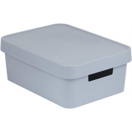 Větší plastová krabice pro uložení věcí v domácnosti, šedá, 11 L