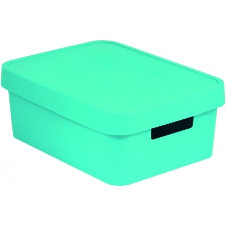 Větší plastová krabice pro uložení věcí v domácnosti, modrá, 11 L