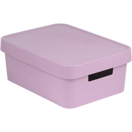 Větší plastová krabice pro uložení věcí v domácnosti, růžová, 11 L