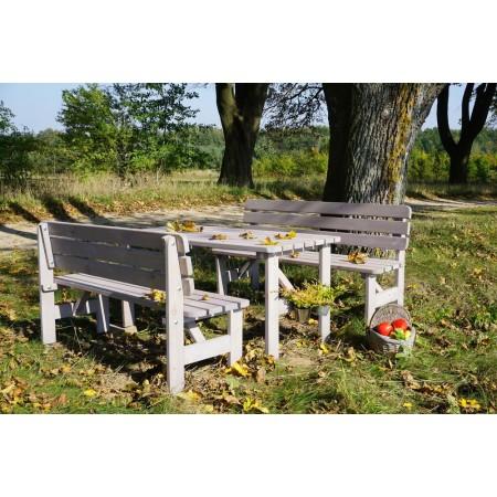 Zahradní dřevěná lavice z masivního dřeva, šedá, 150 cm