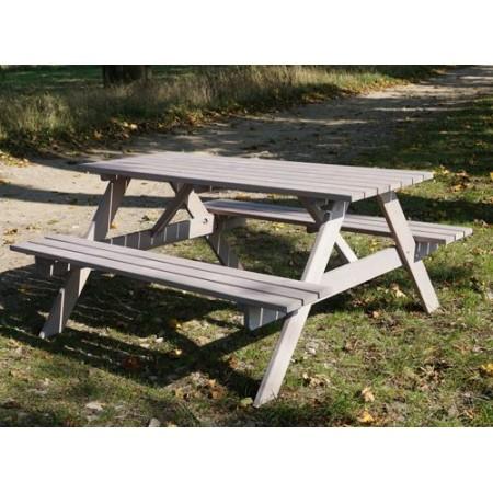 Dřevěný set venkovního nábytku- stůl s lavicemi, šedý, 160 cm