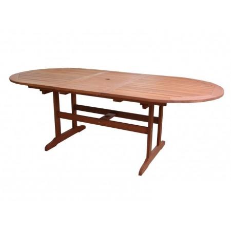 Dřevěný zahradní stůl rozkládací, oválný, dřevo Shorea, 175 - 220 cm