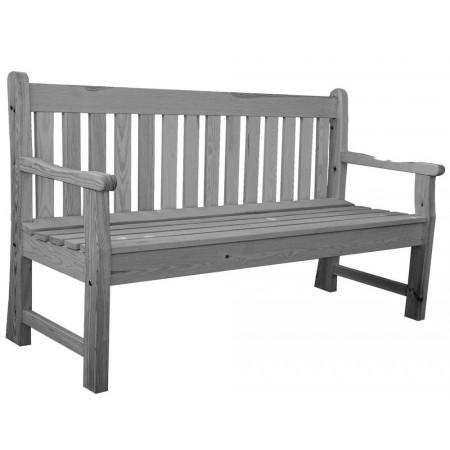 Pevná zahradní lavice pro 3 osoby, masivní dřevo, šedá, 150 cm