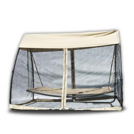 Velká zahradní houpačka- houpací postel, s moskytiérou, béžová