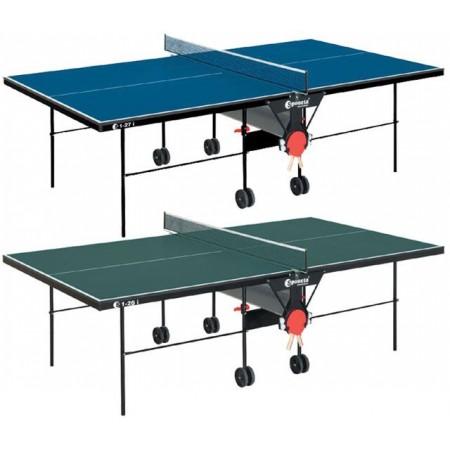 Skládací vnitřní stůl na stolní tenis, na kolečkách, modrý, 274x152,5 cm