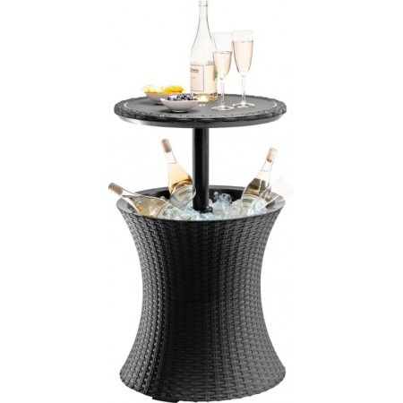 Venkovní kulatý stolek s úložným prostorem na nápoje, ratan, hnědý, 57 cm