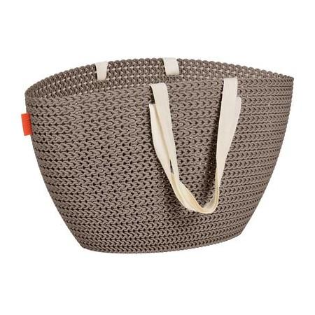 Plastová nákupní taška s textilními popruhy přes rameno, hnědá