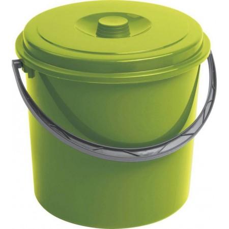 Větší plastový kyblík s víkem, zelený, 16 litrů