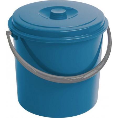 Větší plastový kyblík s víkem, modrý, 16 litrů