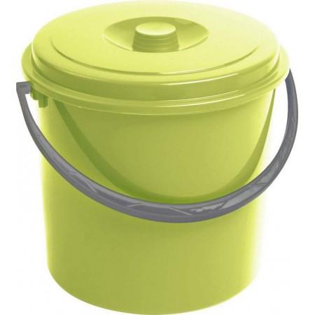 Plastový kulatý kyblík s víkem, zelený, 10 litrů