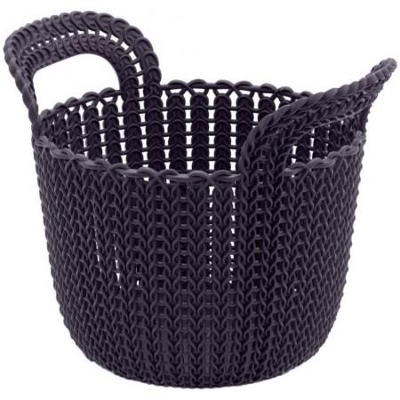 Plastový dekorativní úložný košík na drobnosti, fialový, průměr 19 cm
