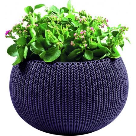 Designový kulatý květináč do bytu / na terasu, fialový, průměr 36 cm