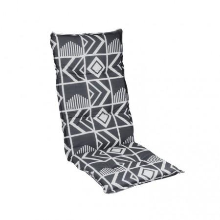 Měkký sedák na zahradní křeslo, vysoká opěrka, antracit / světle šedá