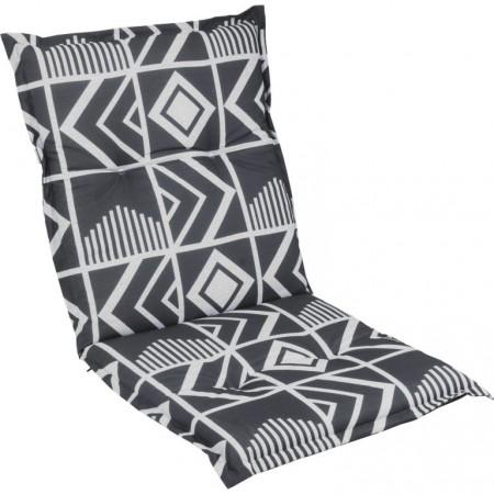 Sedák na zahradní křeslo, nízké opěradlo, antracit / světle šedá, 98x50 cm
