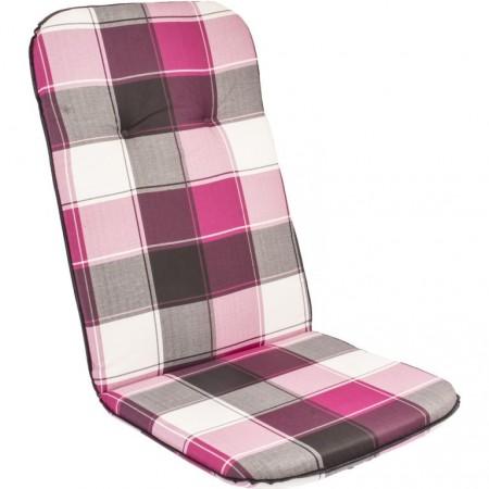 Podsedák na zahradní židle a křesla, vysoká opěrka, růžová kostka, 116x50 cm