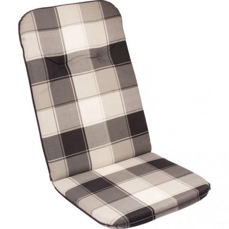 Měkký podsedák na židle / křesla, vysoká opěrka, šedivá kostka, 116x50 cm