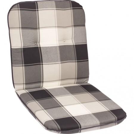 Měkký polstr na židle / křesla, nízká opěrka, šedivá kostka, 98x49 cm