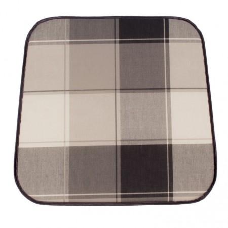 Textilní měkký podsedák na židli, kostkovaný vzor, 41x39 cm