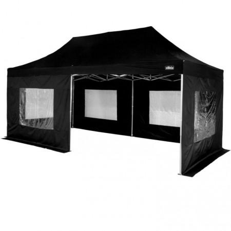 Velký přenosný párty stan 3x6 nůžkový, kompletně uzavřený, černý