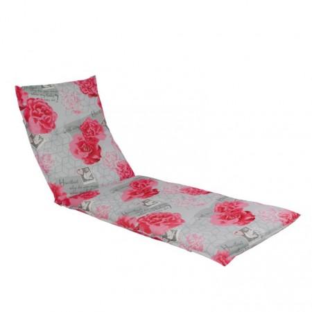 Měkké pohodlné polstrování na lehátko, šedá + růžové květy, 190x60 cm