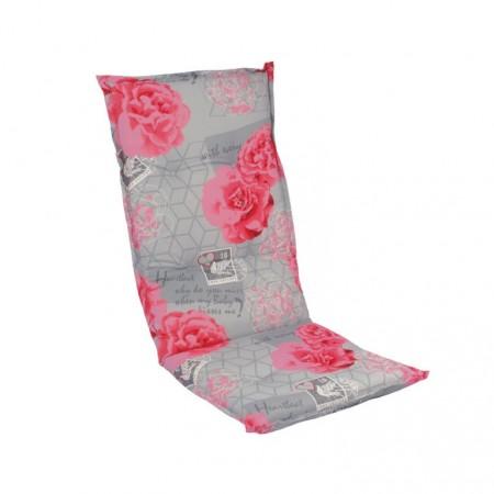 Barevný polstr na židle a křesla, šedá + růžové květy, 118x50 cm