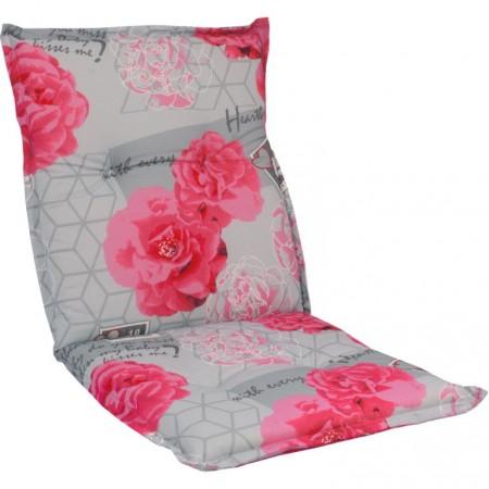 Barevný polstr na nízké židle a křesla, šedá + růžové květy, 98x50 cm
