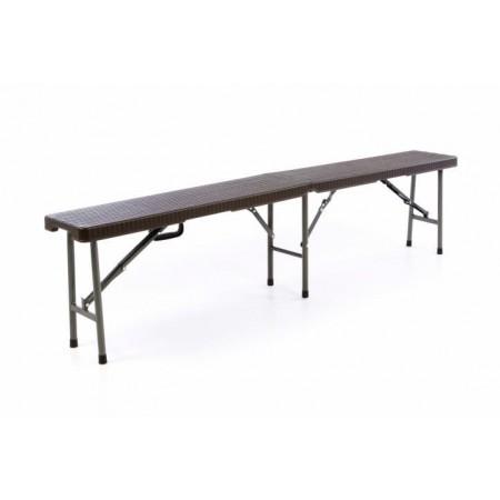 Skládací lavice k pivnímu setu, kov / pevný plast, hnědá, 180 cm