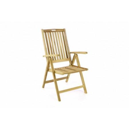 Skládací dřevěná židle z masivu- nelakovaný teak, sklopná opěrka