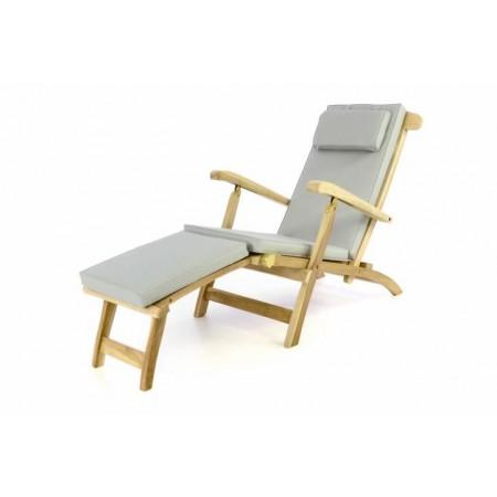 Luxusní dřevěné zahradní lehátko z teakového dřeva + šedé polstrování