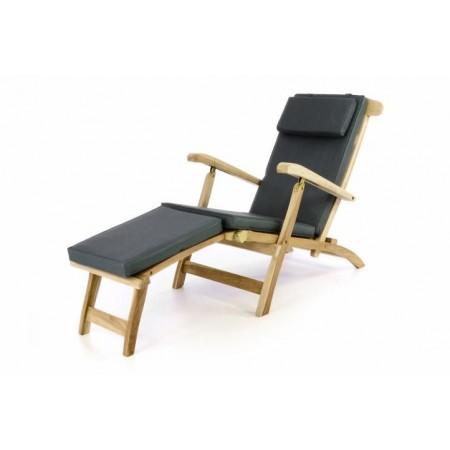 Luxusní dřevěné zahradní lehátko z teakového dřeva + antracitové polstrování