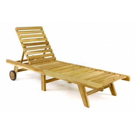 Skládací dřevěné zahradní lehátko z masivu, s kolečky, teak